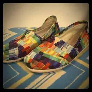 Toms multi colored slip on shoes size 7